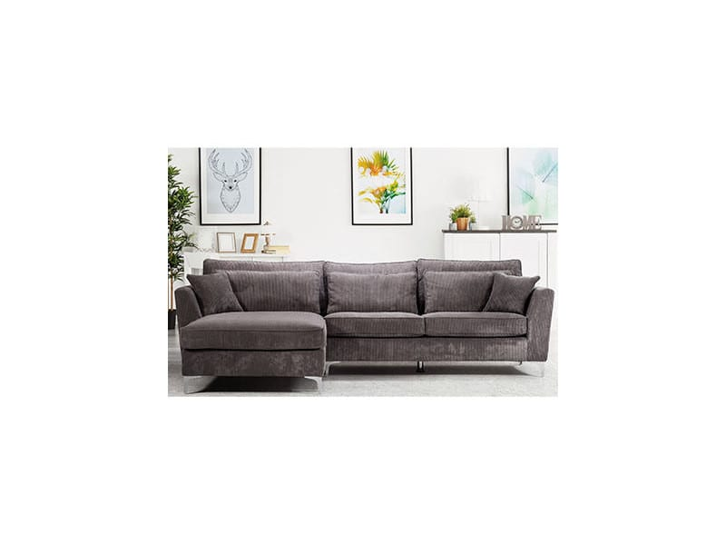 Canapé d'angle à gauche en tissu gris - isla