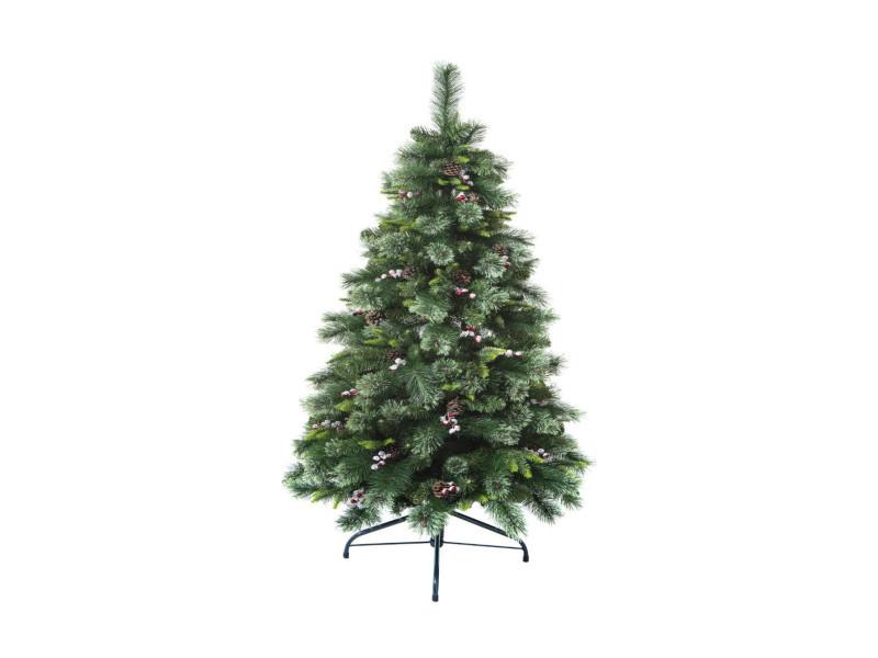 Feeric christmas - sapin de noël artificiel vert pommes de pin et baies rouges h 150 cm collection wyoming
