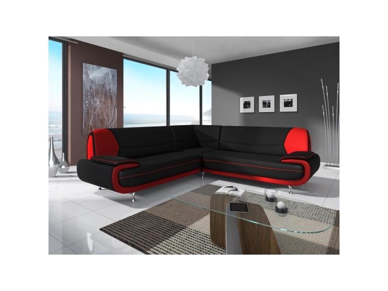 Muza - canapé d'angle design en simili cuir noir et rouge