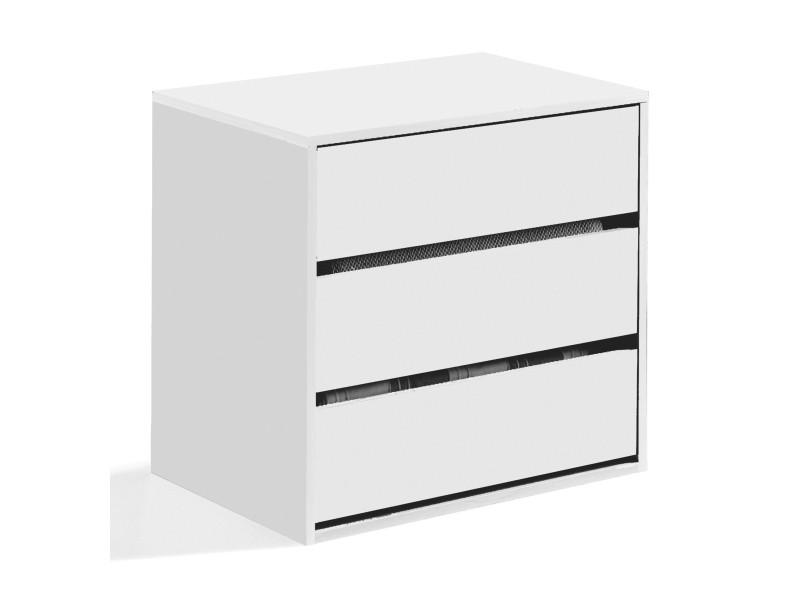 Commode à trois tiroirs, couleur blanche, dimensions 60 x 57 x 44 cm 8052773327749