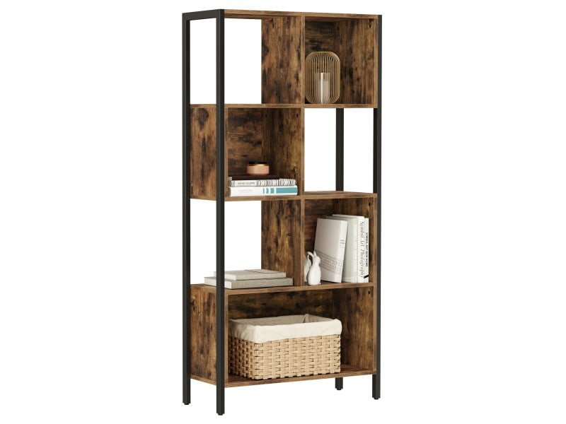 vasagle bibliotheque etagere de rangement meuble a compartiments cadre en acier pour bibelots decors cadres photos salon bureau a domicile