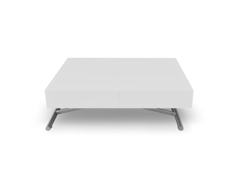 Table basse relevable sundance blanc laqué