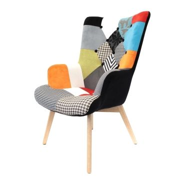 fauteuil helsinki patchwork vente de the concept factory conforama. Black Bedroom Furniture Sets. Home Design Ideas