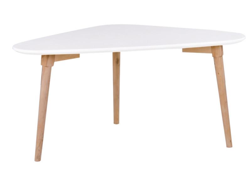 Table basse coloris blanc / naturel - dim : 85 x 48 x 40 cm -pegane-