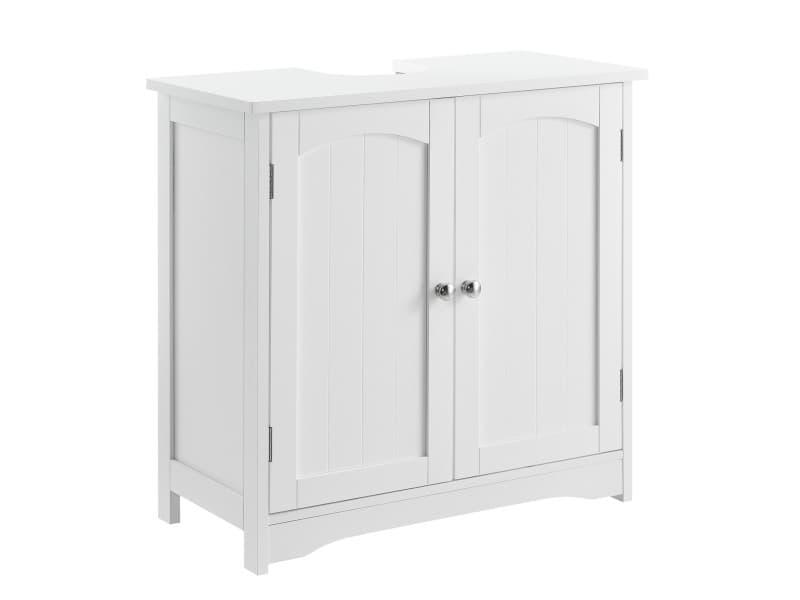 En.casa meuble de salle de bain armoire de salle de bain au dessous lavabo 2 porte 2 stockages séparés 60x60x30cm mdf laqué blanc