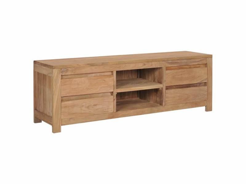Meuble télé buffet tv télévision design pratique 120 cm bois de teck massif helloshop26 2502266