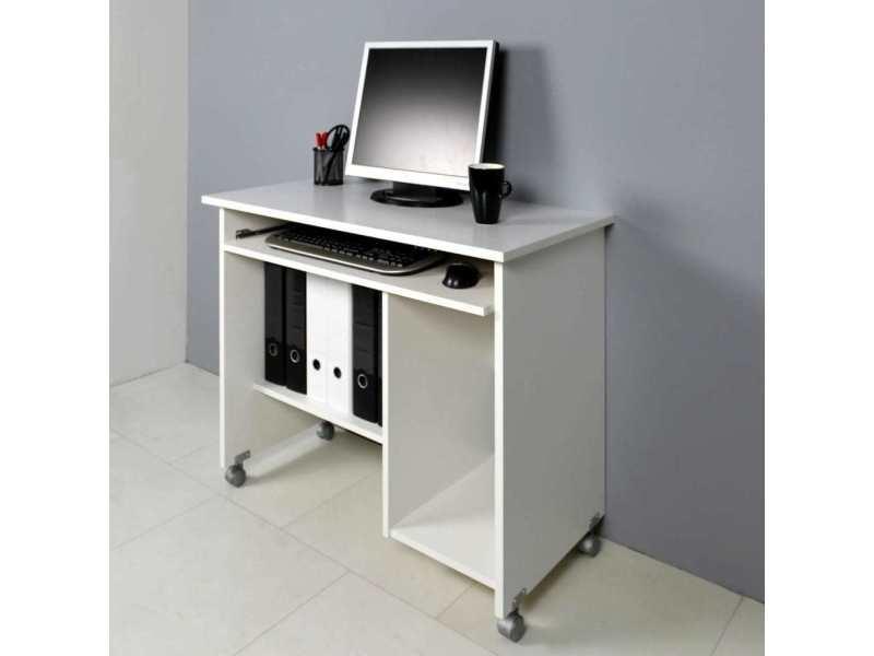 Bureau informatique en bois blanc à roulettes watch vente de