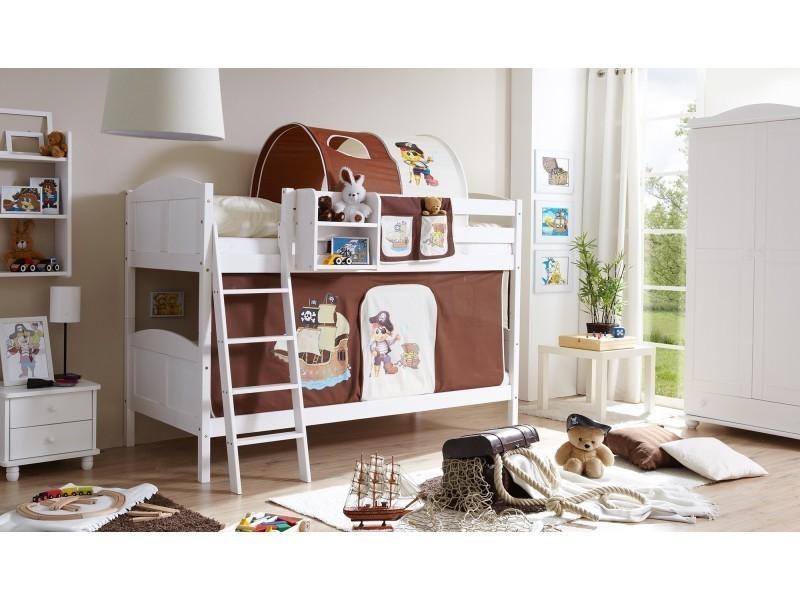 3ca2d853543d0e Lit superposé - lit mezzanine - lit enfant - lit séparable - lit cabane et  tunnel - rangements - bois massif vernis blanc - tissus pirate marron et  beige ...