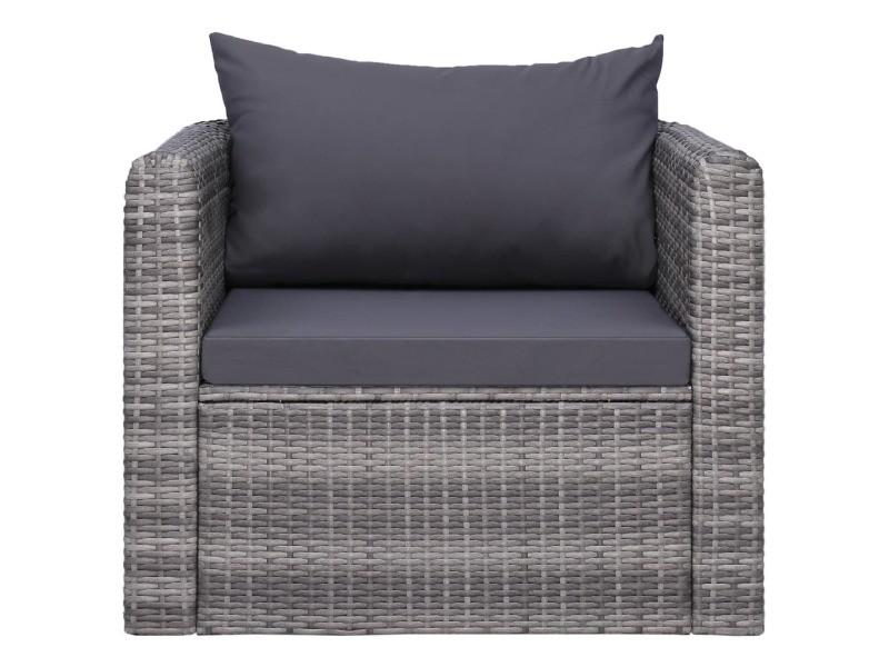 Vidaxl chaise de jardin avec coussin et oreiller résine tressée gris 44161