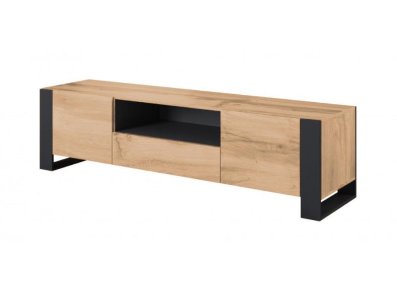 Bobochic meuble tv 180 cm nunki imitation bois et anthracite