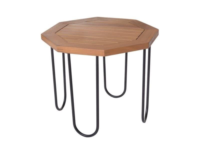 Table de salon de jardin octogonale 45cm en bois d\'acacia et ...