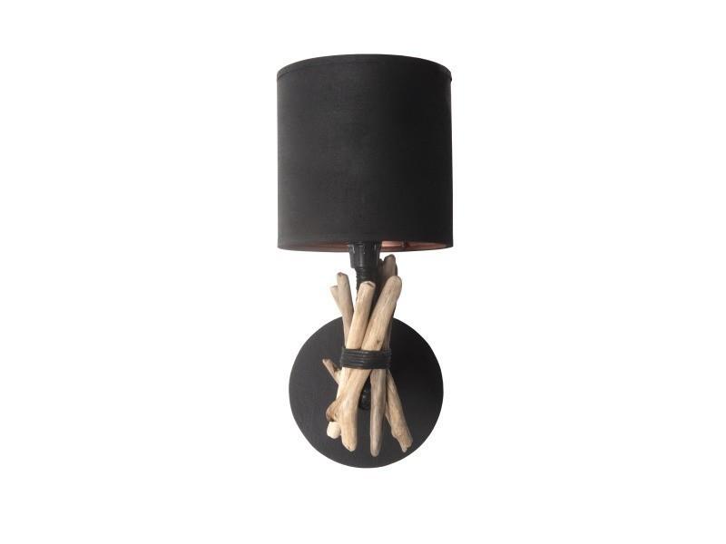 Lampe applique murale artisanale en bois flotté naturel - fabriquée à la main en france (noir) - couleur : noir