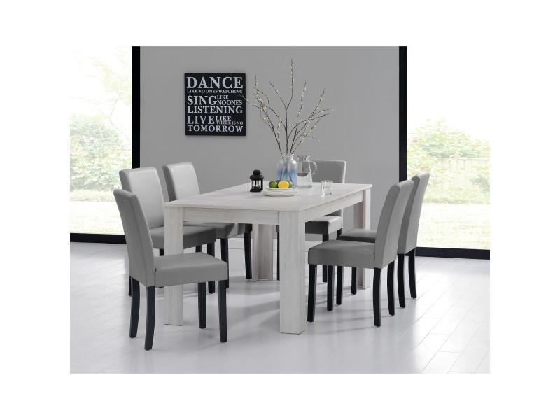 [en.casa] table et jeu de chaises 'oslo' (blanc - 160x90) 6 chaises (rembourrées - gris clair) - en pack économique