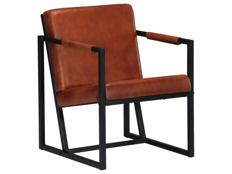 Fauteuil chaise siège lounge design club sofa salon marron cuir véritable helloshop26 1102184/3