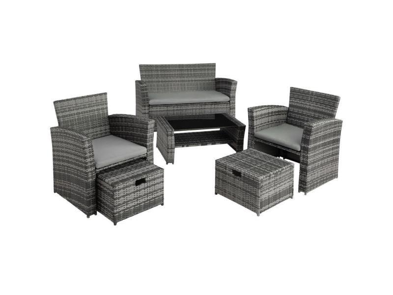 Salon de jardin rotin résine tressé synthétique 4 places avec housse de protection gris helloshop26 2108079