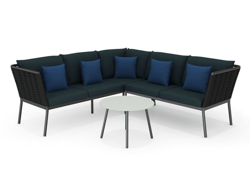 Salon bas de jardin 5 places minaya:table basse+canapé alu corde ...