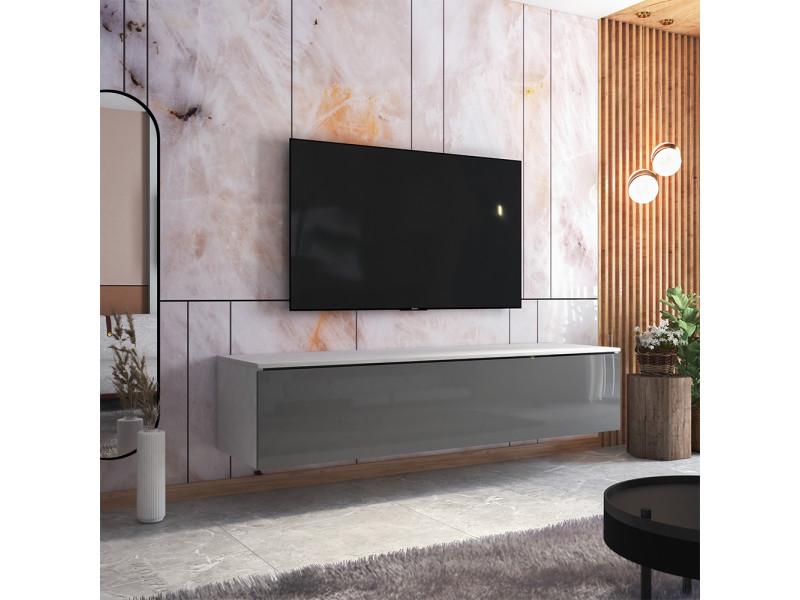 Meuble tv - skylara - 180 cm - blanc mat / gris brillant