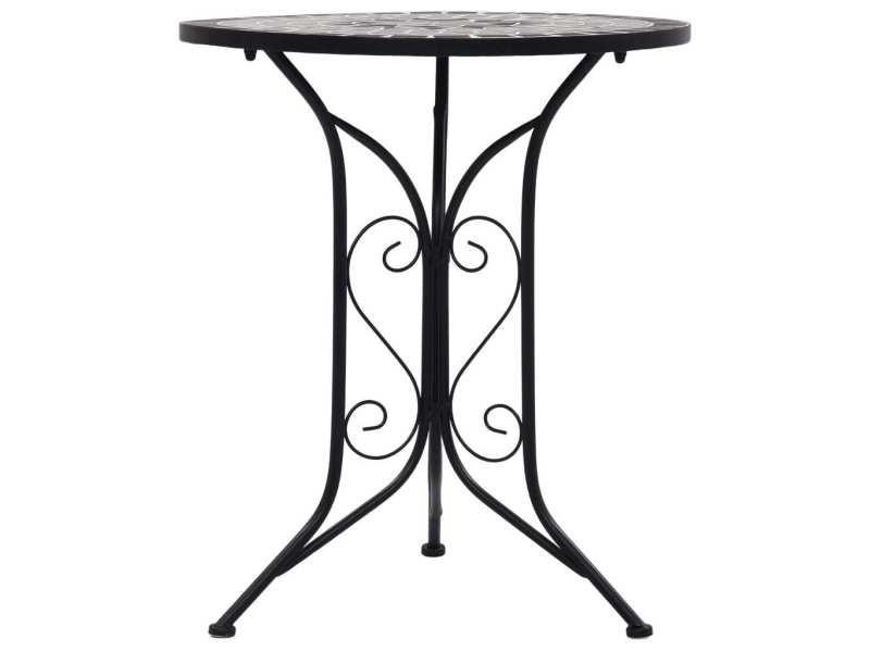 Icaverne - tables de jardin edition table de bistro mosaïque gris 61 cm céramique