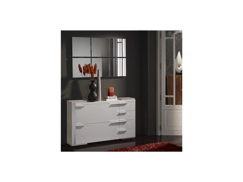 Meuble chaussures et miroir moderne blanc couleur bois clair arucas 2