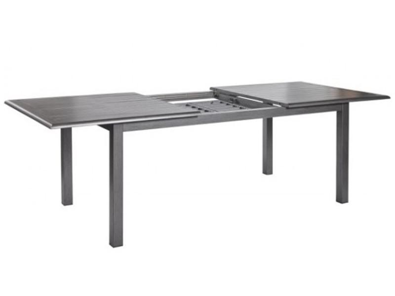 Table extensible en aluminium finition gris effet bois - dim : 180/240x96x76cm -pegane-