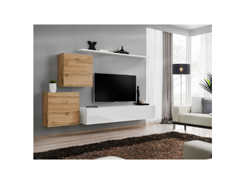 Ensemble mural - switch v - 1 vitrine carrée - 1 banc tv - 1 étagère - bois et blanc - modèle 1