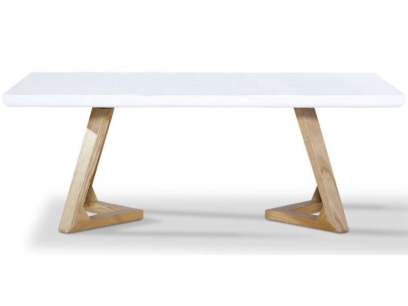 Table basse bois/laqué dune - frêne/blanc -