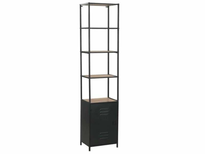 Étagère armoire meuble design bibliothèque bois de sapin massif et acier 180 cm helloshop26 2702053/2