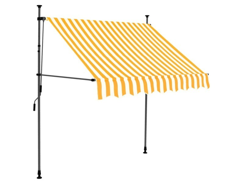 Vidaxl auvent manuel rétractable avec led 150 cm blanc et orange 145856
