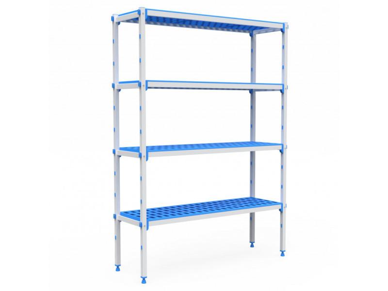 Rayonnage aluminium 4 niveaux compatible bac gn 2/3 - l 715 à 1950 mm - pujadas - 715 mm