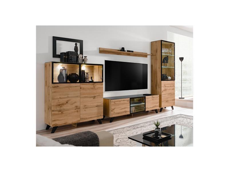 Ensemble mural meuble tv - thin - 4 éléments - bois