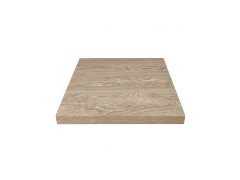 Plateau de table carré 600mm effet bois clair - mélamine