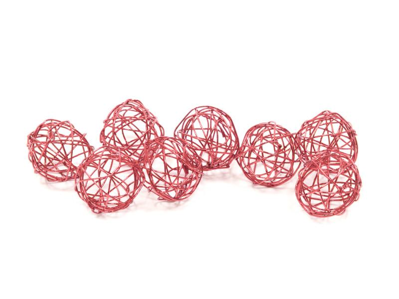 10 lots de 12 boules deco en métal coloris rose gold - diam : 2 cm VISIODIRECT