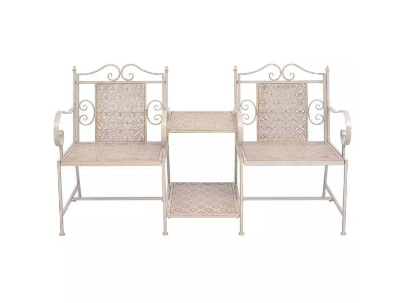 Icaverne - bancs d'extérieur gamme causeuse de jardin en acier blanc