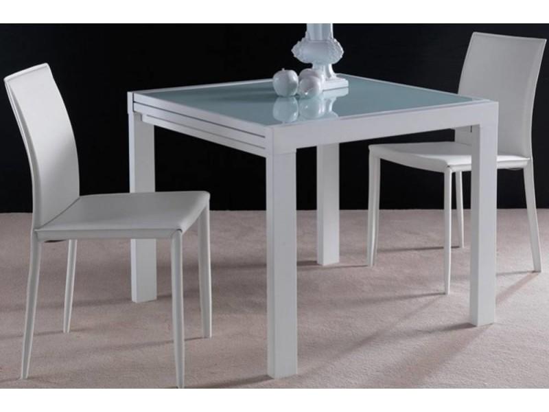 Table Repas Extensible Space En Verre Design Blanc 120 Cm