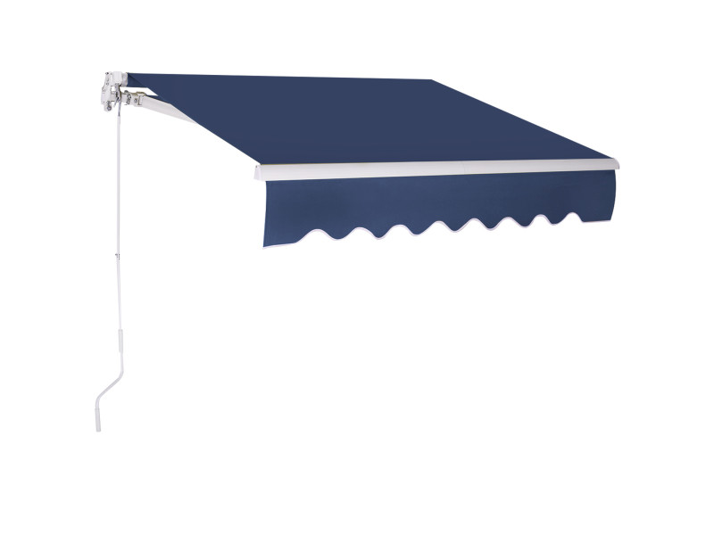 Giantex auvent de terrasse rétractable manuel de 3 x 2,5 m, toile de protection solaire avec tissu résistant aux uv et à l'eau, cadre manivelle, pour terrasse extérieure de balcon