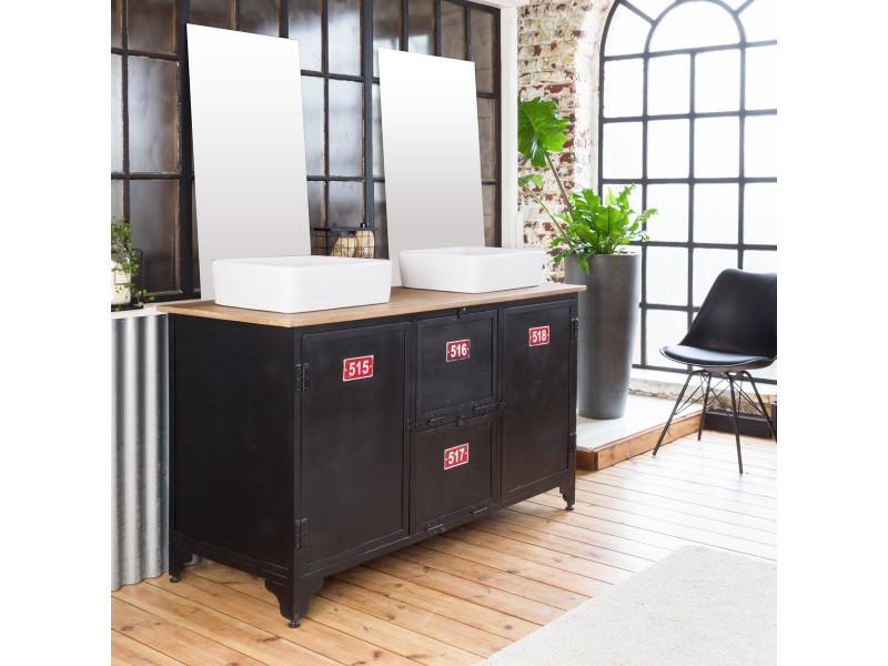 Meuble salle de bain industriel 2 vasques métal noir et plateau bois ...