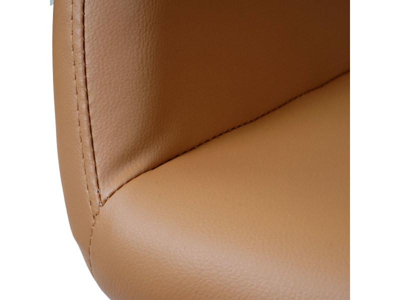 Chaise de salle à manger hwc-a50 ii, fauteuil, design rétro des années 50 ~ similicuir, couleur noix - Vente de Chaise 93sqq