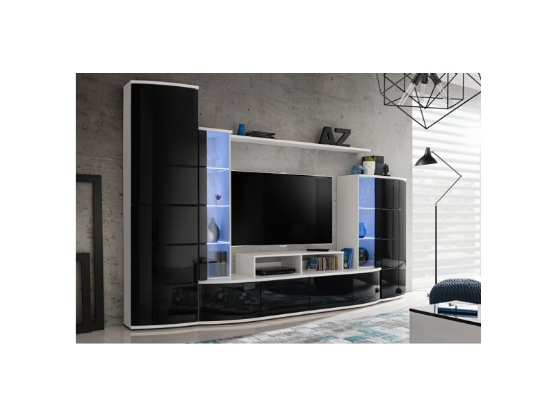 Ensemble murale meuble tv - leave - blanc et noir