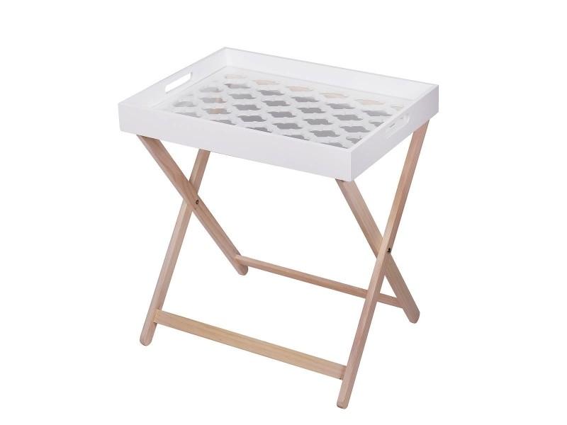 Michigan table d'appoint en bois avec plateau en bois laqué blanc et verre