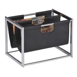 Porte-revue en cuir synthétique coloris noir et métal