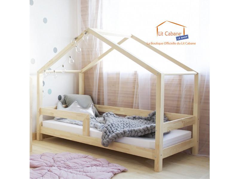 lit cabane 90x190 en pin massif barri re sommier. Black Bedroom Furniture Sets. Home Design Ideas