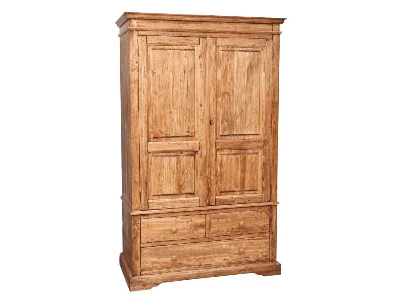 Armoire rustique en bois massif de tilleul finition naturelle l120xpr59xh197 cm