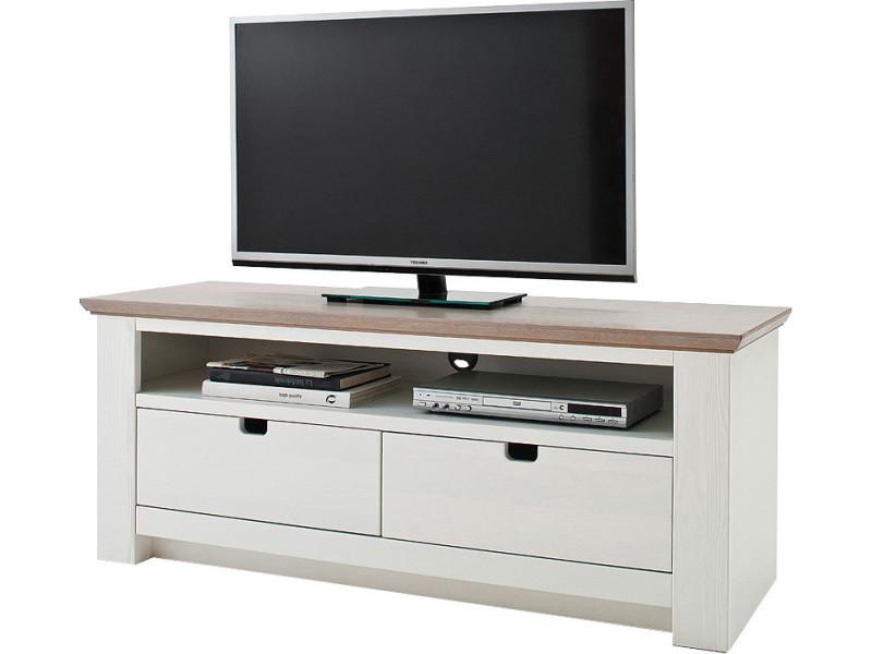 Meuble Tv Contemporain Blanc Et Marron En Panneaux De Particules