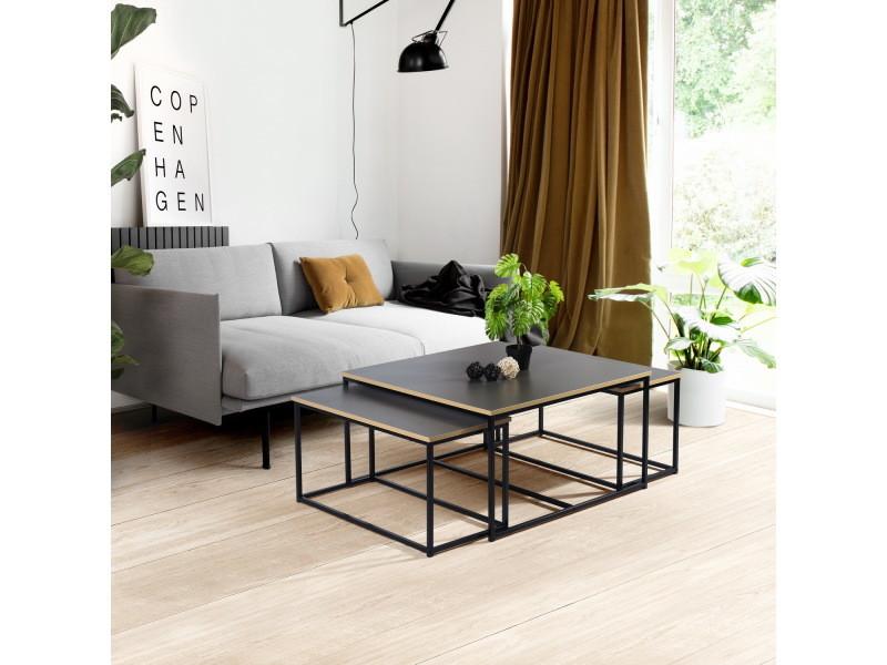 3 tables basses rectangulair en boir et métal noir design industriel 80*80cm