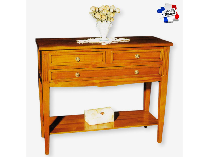 Console 3 tiroirs merisier massif 95x37 cm, 100% fabrication française