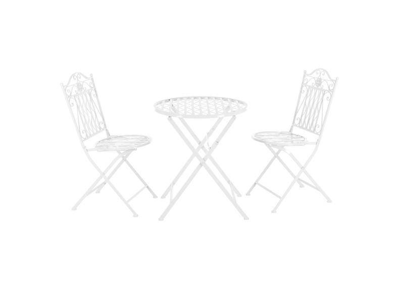 Set de bistrot élégant table ronde et chaises pliables pour jardin terrasse balcon métal blanc [en.casa]