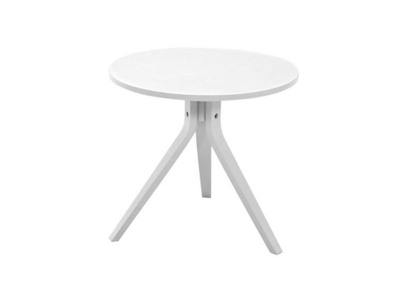 Mayflower bout de canapé/table d'appoint scandinave ronde en chene laqué blanc mat - ø 50 cm