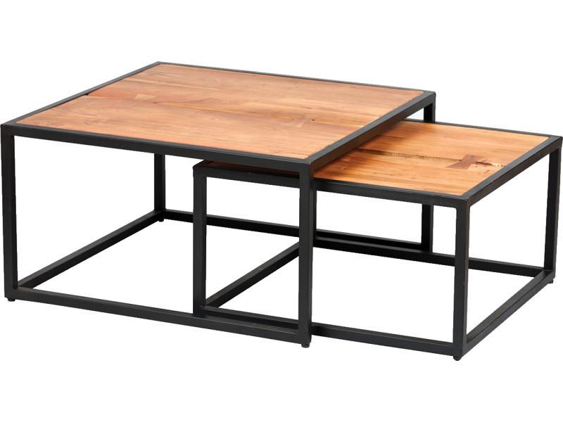 Lot de 2 tables en palissandre massif et métal laqué noir -pegane-
