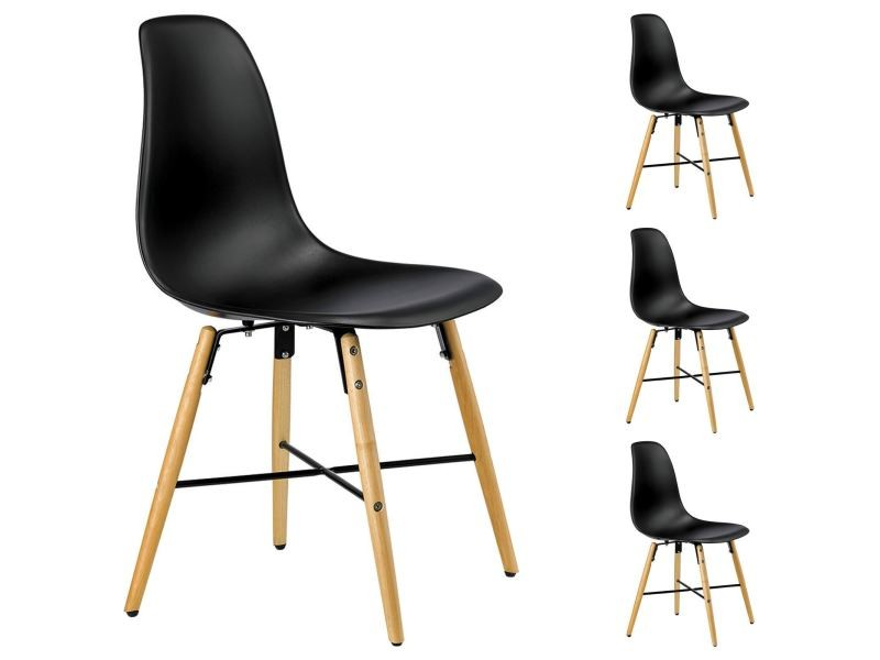 lot de 4 chaises cicero noires vente de idimex conforama. Black Bedroom Furniture Sets. Home Design Ideas
