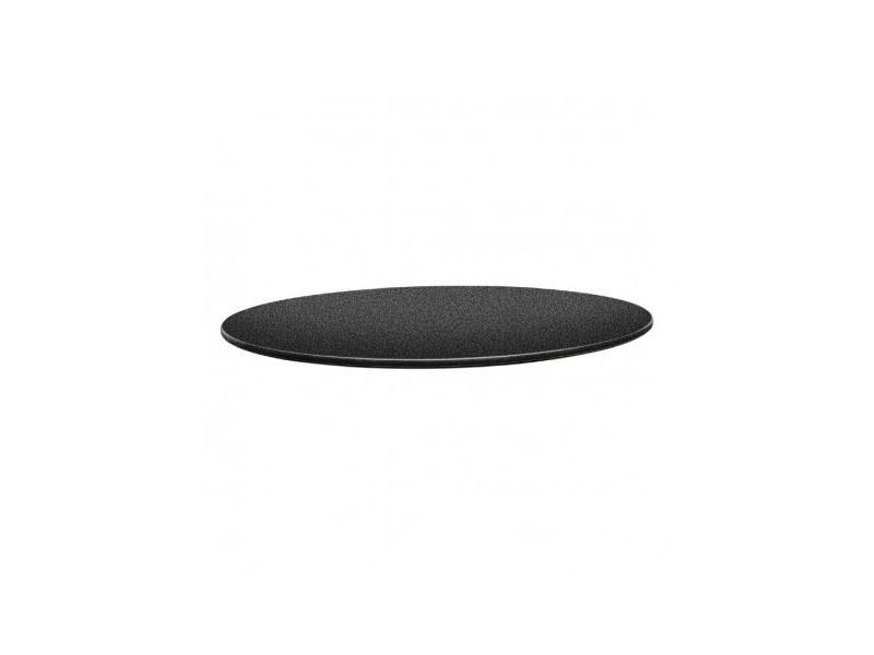 Plateau de table rond 80 cm gris anthracite - topalit - bois